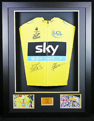 Wiggins and Froome signed yellow Jersey 3D Frame with COA