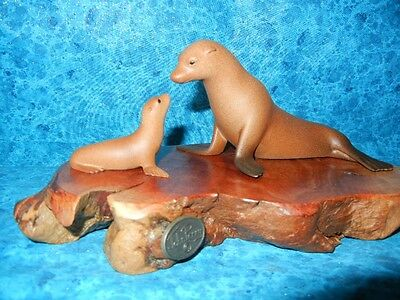 SEA LION SEAL SCULPTURE - MOM & BABY - SIGNED JOHN PERRY - Airbrushed STATUE