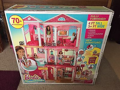 NEW Mattel Barbie Dream House 3 Story Pink Furnished Doll House