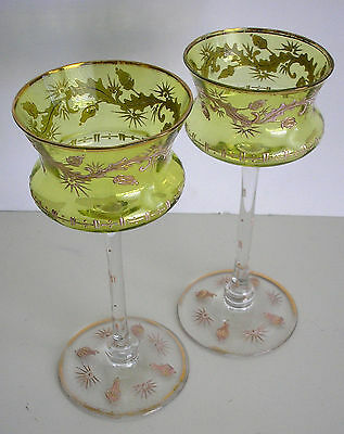2 Moser Vintage Lime Cased Cut To Clear Crystal Gold Adorned Wine Goblets Wow!