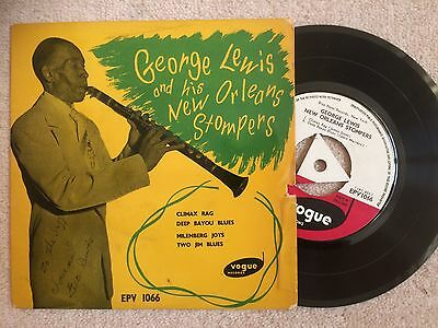 GEORGE LEWIS (signed / autographed) NEW ORLEANS STOMPERS EP 1955 VOGUE LABEL