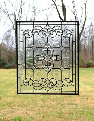 """Stunning Handcrafted stained glass Clear Beveled window panel, 24"""" x 28.25"""""""
