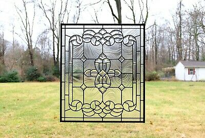 "Stunning Handcrafted stained glass Clear Beveled window panel, 24"" x 28"""
