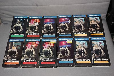 Action Max Console & Complete Set VHS Games Including Sealed Blue Thunder