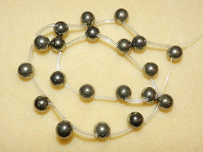 """10 mm Pyrite top drilled rounds Gemstone strand 15"""" (20 loose beads)"""