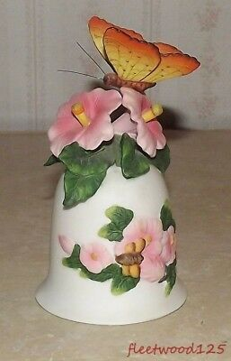 """Decorative Porcelain Butterfly and Flower Design Bell - 5.25"""" Tall"""
