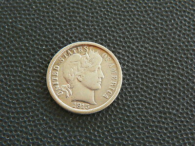 Barber Dime - 1915  - VF - All of LIBERTY  - Cleaned -