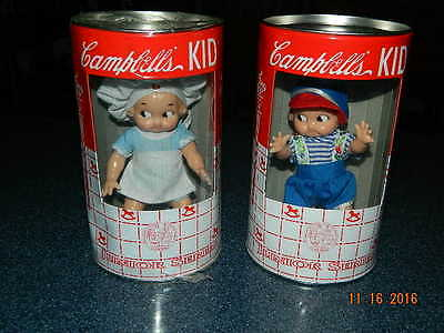 2 - Campbell's Kid Junior Series Kid Dolls 1998 Soup Can Banks Unopened.