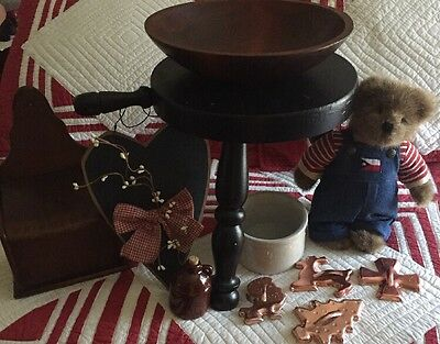 Large Lot Of Primitive Country Decor And Collectibles Wood Bowl ,Stool ++++++++