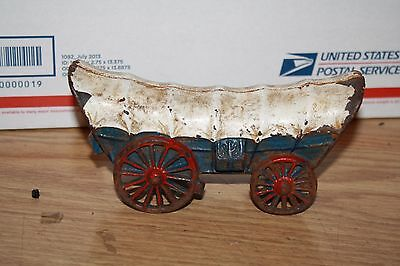 "Vintage Cast Iron 7"" Covered Wagon"
