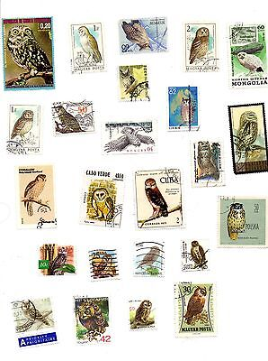 Owls mix of 24 different postage stamps