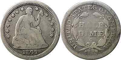 1841-O 5C Liberty Seated Half Dime Very Good Details