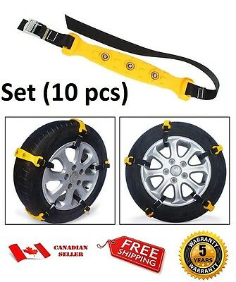 A Set of 10pcs Car Snow Tire Chains Beef Tendon VAN Wheel Tyre Anti-skid TPU