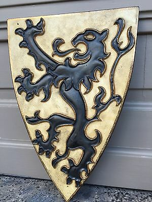 SALE !!! Decorative Heraldic Medieval Style Shield with lion in plaster