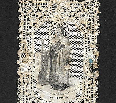 Old Lace HOLY CARD prayer: St.THERESE of AVILA with ARROW + ROSARY 19th century