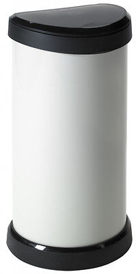 Curver Deco Touch 40L Plastic Metal Effect Kitchen Pedal Bin - Cream - FREE P&P