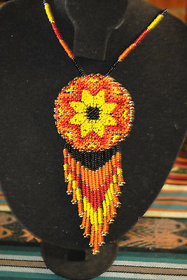Glass Seed Collar Necklace Colombian Chaquira Huichol 001