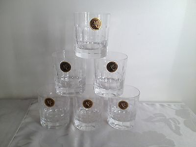 6 X Royal Scot Crystal Arts & Crafts Whisky Tumblers  - PR