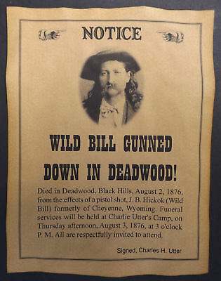 Wild Bill Hickok Gunned Down in Deadwood Poster, old west, death, wanted western
