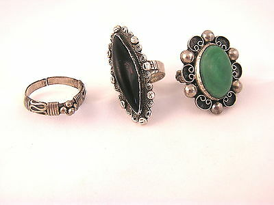 Beautiful Ethnic Ring Lot (3) Sterling and Gemstone - Mexico