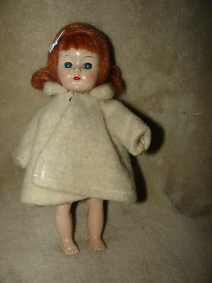 Vintage Ginger doll by Cosmopolitan with homemade coat, circa 1955