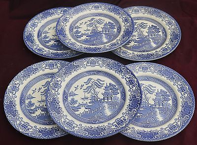 English Ironstone Tableware Willow Set Of 6 Dinner Plates
