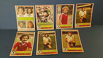 7 x Topps Chewing Gum Cards Bristol City Football Club 1976/77 Red Back