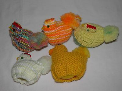 5 EASTER CHICK Knitted Plastic Egg Covers 2 Sizes Plastic Easter Eggs Included