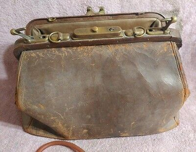 Vintage Brown Leather Cowhide Doctors Bag AWESOME PATINA Found with Stethoscope.