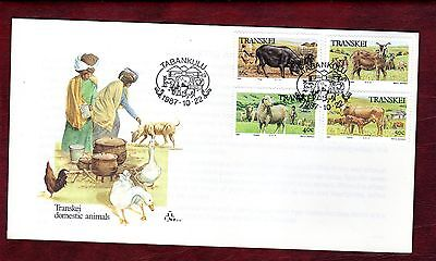 TRANSKEI STAMPS- Domestic Animals, set on FDC  1987