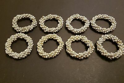 8 x SILVER/GOLD BEAD NAPKIN RINGS from John Lewis
