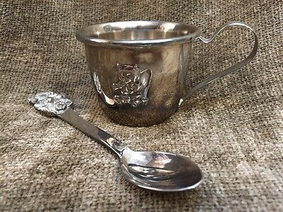 Baby Gift Set Silver Plate Metal Cup & Spoon Teddy Bear Design