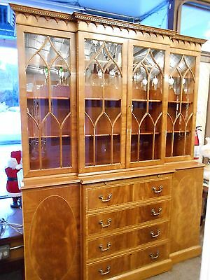 H. Sacks & Son Huge Breakfront Mahogany Cabinet/Hutch w/ inlay (Must See)