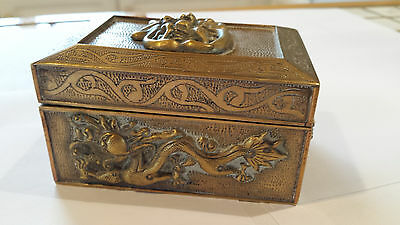 Antique Qing Chinese Export Repousse Brass Dragon & Foo Dog Tea Caddy
