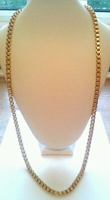 Vintage Jewellery-Goldtone Box Chain Long Necklace.beautiful & In Vgc