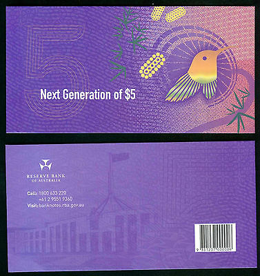 2016 $5 Two Bank Note Folder with First  Prefix (AA) 2016 & 2015 Notes.