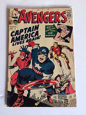 The Avengers #4 - First SA Appearance Of Captain America - VG/FN