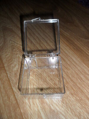 Small Plastic containers hinged Boxes 2 inchs x 2 inchs x 1 1/4 inch** 54 Boxes!