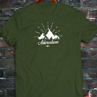 6d7631c95 OUTDOORS ADVENTURE MOUNTAINS CAMP HIKING TRAVEL Mens Military Green T-Shirt