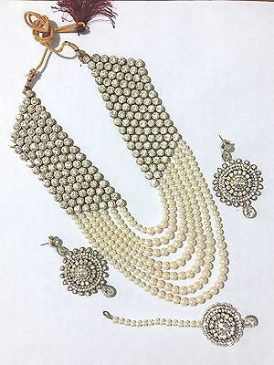 New Indian Bollywood Costume Jewellery Necklace Earring Set Pearl Gold Silver