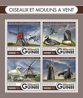 Guinea 2016 MNH Birds & Windmills 4v M/S Rooie Wip Outwood Post Mill Stamps