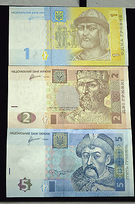 UKRAINE 1,2&5 HRYVNIA FOREIGN PAPER MONEY BANKNOTE UKRAINIAN CURRENCY.(Lot of 3)