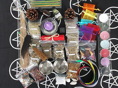 WITCHES SPELL STARTER KIT witch/wicca/pagan/occult/goth/herbs/altar cloth