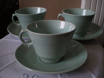 Vintage Woods Ware Beryl cups and bowls x 3 -  saucers x 4