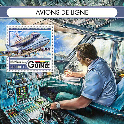 Guinea 2016 MNH Airliners Boeing 747 1v S/S Space Airplanes Aviation Stamps