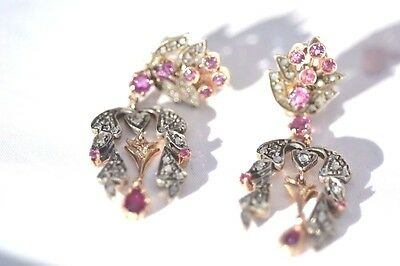 Antique earrings gold 18kt and silver 925