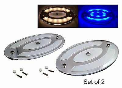 Pactrade Marine Set of 2 White Blue Oval LED Ceiling Courtesy Light Mirror Touch