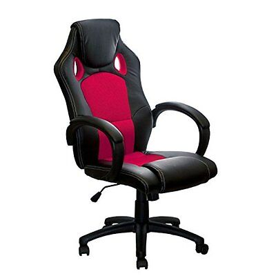 ALEKO High Back Office Chair Ergonomic Desk Chair PU Mesh Upholstered Red