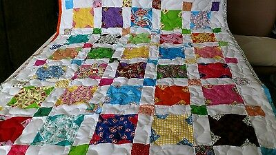 Girl Boy Handmade Handcrafted Pieced Scrappy Stars Baby Lap Crib Throw Quilt