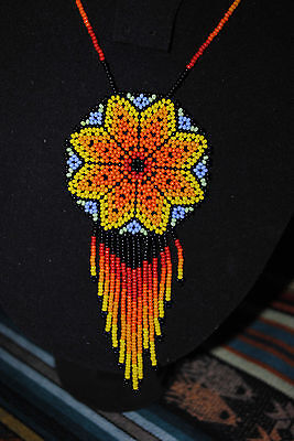 Glass Seed Collar Necklace Colombian Chaquira Huichol 007